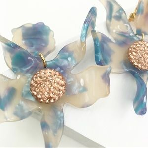 Lele Sadoughi Jewelry - LLELE SADOUGHI | Crystal Lily Earrings Blue Torti